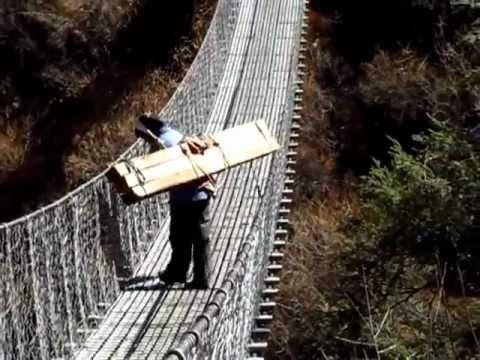 Tumpline Load over Bridge, Nepal
