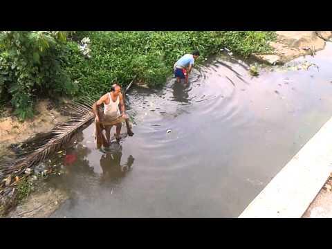 Nelayan Bangladesh Menjala Ikan Di Sungai Betong ,Jerantut