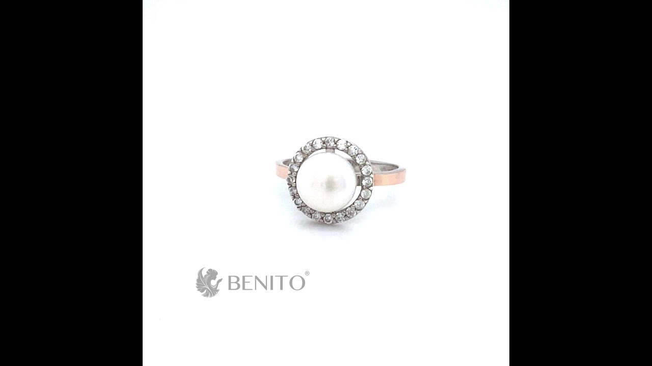 Romina Ring White Pearl and Zircon Stones