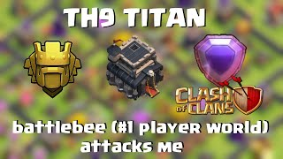 Clash of Clans | TH9 Titan | Best Player in the world attacks me | Legend  Defense