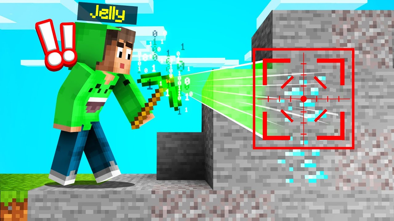 Jelly - I FOUND A HACKER PICKAXE In MINECRAFT! (Instant Diamonds)