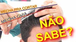 IDENTIFIQUE A MECHA GUIA/CORTE DE CABELO MASCULINO NA TESOURA