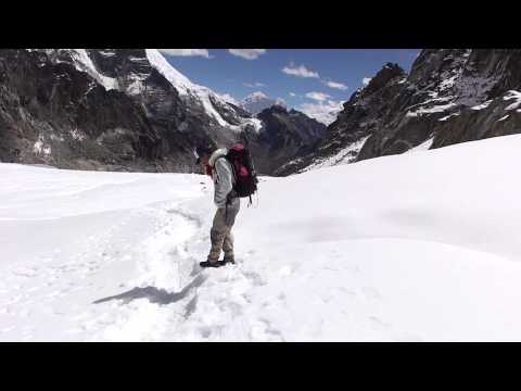 Trekking in the snow