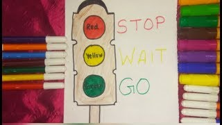 Traffic light Drawing and Coloring. Red yellow Green.