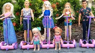 Hoverboards ! Elsa and Anna toddlers - Barbie - race - park - adventure