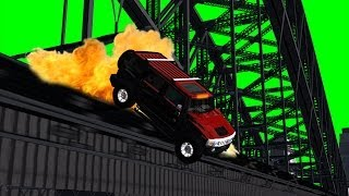 car falls from the bridging - movie VFX - green screen effect