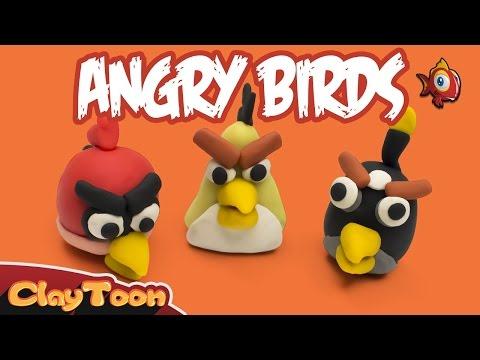 Angry birds 1: Red, Bomb and Chuck, Polymer clay tutorial | شخصيات الطيور الغاضبة 1 , تشكيل صلصال
