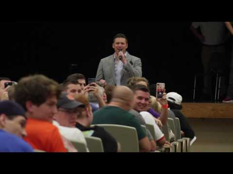 Richard Spencer gave a speech in Foy auditorium after a judge ruled in his favor early today.