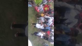 Bra kwao fall on a stage