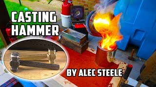 Casting Brass Hammer From Bullet Shells | Forged By Alec Steele width=