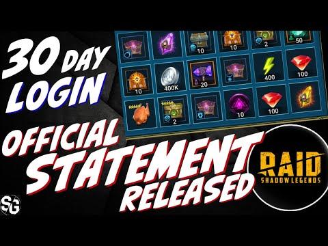 Official statement on 30day login rewards from Raid - RAID SHADOW LEGENDS
