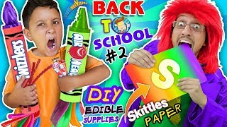 SKITTLES PAPER BACK TO SCHOOL DIY EDIBLE SUPPLIES Hacks #2! Airheads & Twizzlers FUNnel Vision
