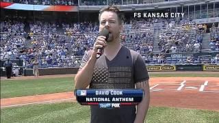 David Cook Sings the National Anthem at Kauffman Stadium, Royals vs Indians, July 4th, 2013