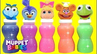 Learn Colors with Disney Junior Muppet Babies Characters SLIME Toy School Surprises