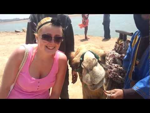 Crystal almost kisses a camel in Morocco Agadir