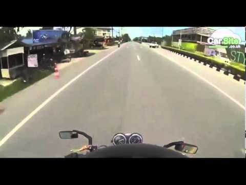 High speed motorbike crash