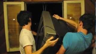 dropping a TV out of a second-story window