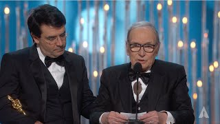 "Ennio Morricone winning Best Original Score for ""The Hateful Eight"""