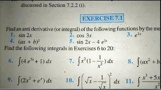 12 th (NCERT) Mathematics-INTEGRATION  (CALCULUS) | EXERCISE-7.1 (Solution)|Pathshala ( hindi )