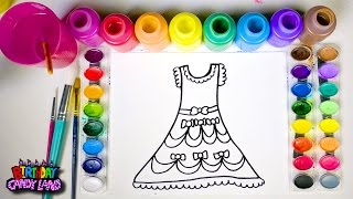 Learn Colors and Hand Color Watercolor Beautiful Dress Coloring Pages for Kids