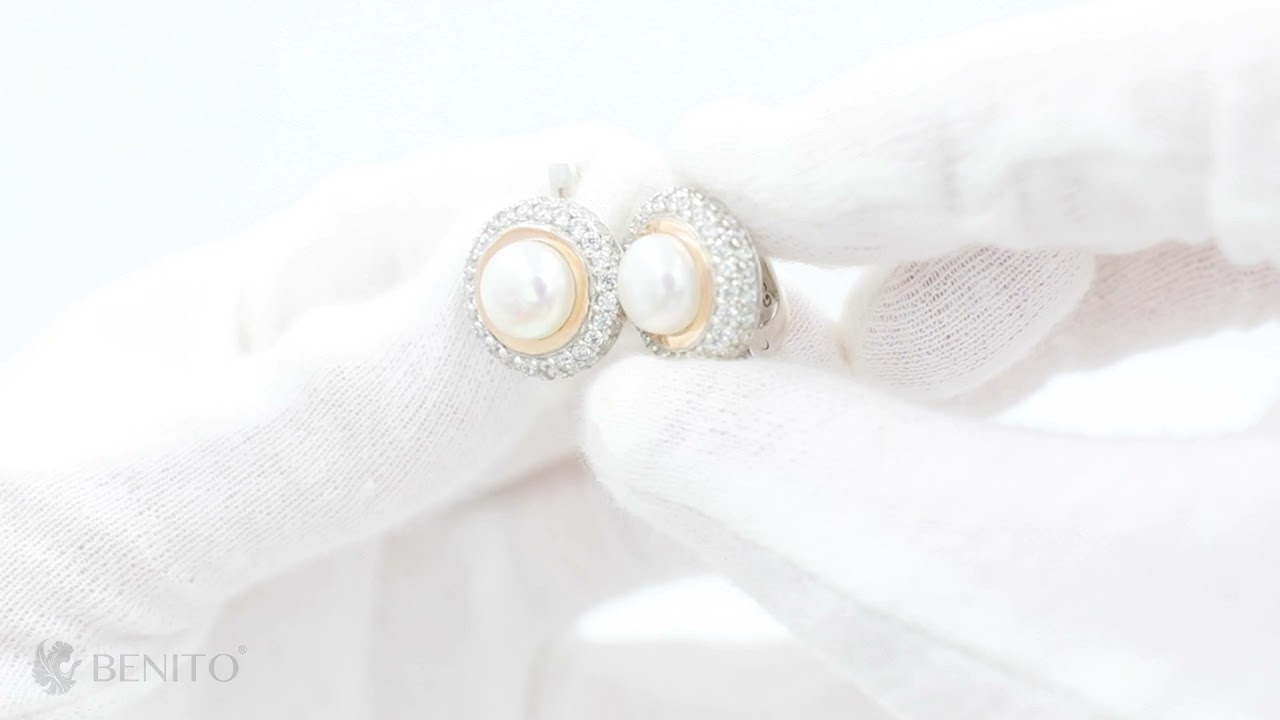 Luciana Earrings Pearl and White Zircon Stones