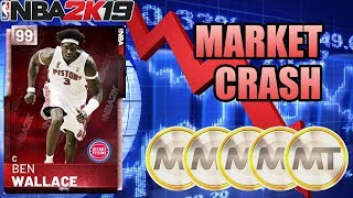 HUGE MARKET CRASH WITH PINK DIAMOND BEN WALLACE IN NBA 2K19 MYTEAM
