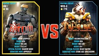 REAL STEEL WRB Final Atom (90) VS Tri Gore (Champion)(279) New Robots UPDATE (Живая сталь)