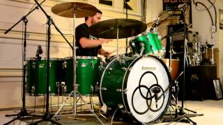 Led Zeppelin - Rock and Roll (Studio) Multi-Cam Drum Cover w/ Music - Vintage Ludwig Green Sparkle