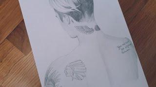 Justin Bieber drawing GQ Magazine