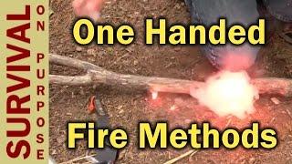 One Handed Fire Starting Hacks - Survival Skills - Firestarter Videos