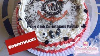 Confeitando bolo Corinthians c/ papel arroz especial e Jady Confeitos