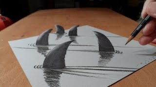 Art 3D Drawing, How to Draw 3D Sharks