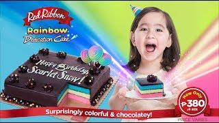Red Ribbon Rainbow Dedication Cake