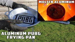 Casting GIANT Bulletproof PUBG FRYING PAN with MOLTEN ALUMINUM width=