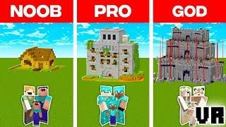 Minecraft NOOB vs. PRO vs. GOD: VR FAMILY ZOMBIE DEFENCE BUILD CHALLENGE in Minecraft (Animation)