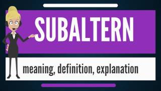 What is SUBALTERN? What does SUBALTERN mean? SUBALTERN meaning, definition & explanation