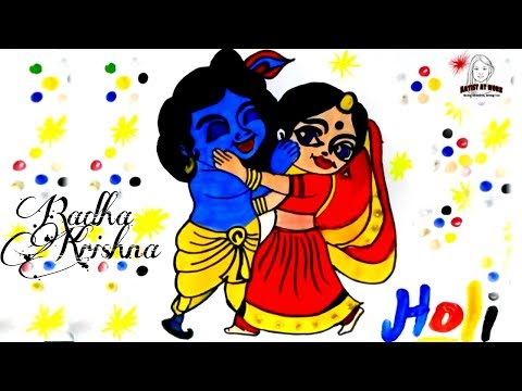 Download thumbnail for HOLI DRAWING BY WATER COLOURS || RADHA