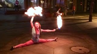 Bad Ass Chick Hula Hoop Dancing With Fire
