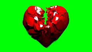 FREE HD Green Screen BROKEN SHATTERING 3D HEART