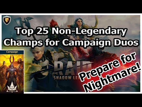 RAID Shadow Legends | Top 25 Non-Legendary Champs for Campaign Progression / Duo 3 Stars