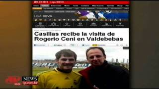 Rogério Ceni visita CT do Real e tira foto com Casillas