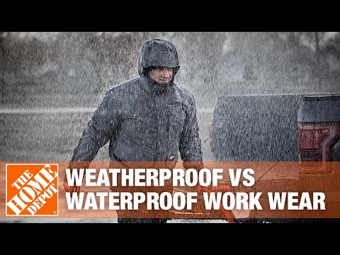 A video highlighting features of weatherproof and waterproof workwear.