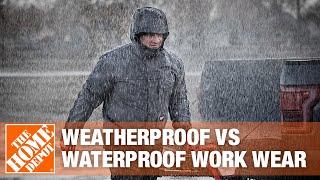 A video highlighting features of weatherproof and waterproof workwear.