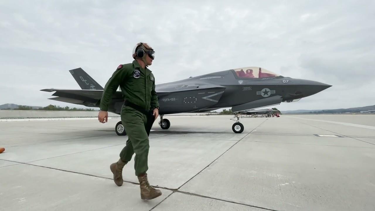 Two U.S. Marine F-35B Lightning II Aircraft • Hot-Pit refuel • Camp Pendleton Cal USA, Oct. 7, 2021