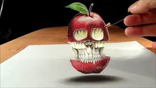 Drawing Floating Apple and Skull - How to Draw 3D Apple and Skull - Cool 3D Trick Art