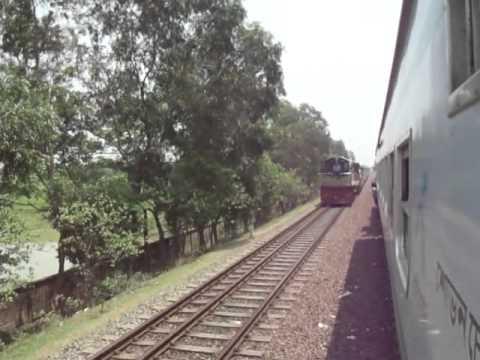 Bangladesh Railway Ekota crossing with Silkcity Intercity on Mirzapur Rail Station.MP4