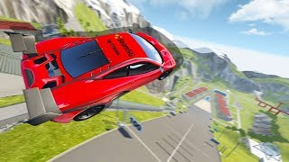 Which Automation Car Can Fly The Furthest on Car Jump Arena? CRAZY SPEED! - BeamNG Drive