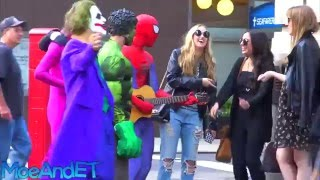 Spiderman Singing to Girls in Public!