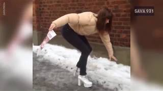 TRY NOT TO LAUGH -  People slipping on ice COMPILATION - JAN 2019
