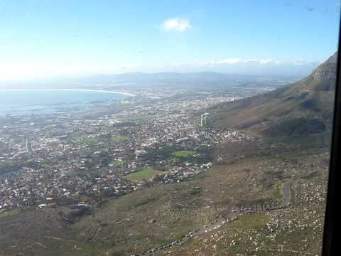 Riding the cable car to Table Mountain, Cape Town, South Africa